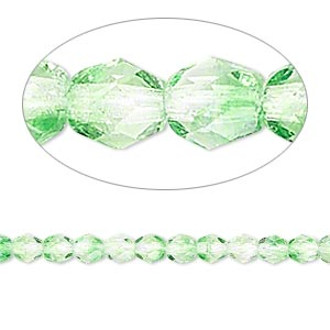 bead, czech fire-polished glass, two-tone, crystal/green, 4mm faceted round. sold per 16-inch strand.
