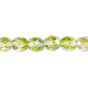 bead, czech fire-polished glass, two-tone, crystal/peridot green ab, 8mm faceted round. sold per 16-inch strand.