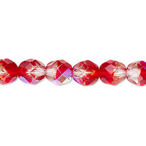 bead, czech fire-polished glass, two-tone, crystal/red ab, 8mm faceted round. sold per 16-inch strand.