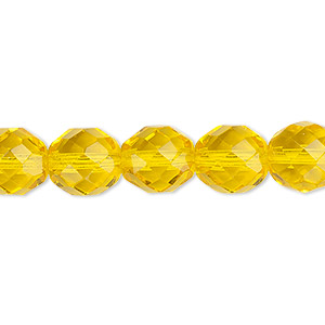 bead, czech fire-polished glass, yellow, 10mm faceted round. sold per pkg of 600 (1/2 mass).