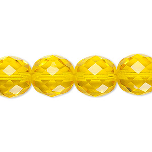 bead, czech fire-polished glass, yellow, 12mm faceted round. sold per 16-inch strand, approximately 35 beads.