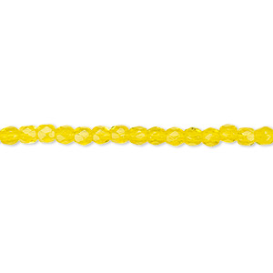 bead, czech fire-polished glass, yellow, 3mm faceted round. sold per pkg of 1,200 (1 mass).