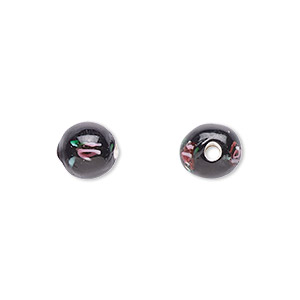 bead, czech glass, black with flowers, 6mm round. sold per pkg of 10.