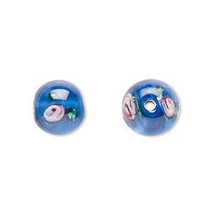 bead, czech glass, blue with flowers, 10mm round. sold per pkg of 4.