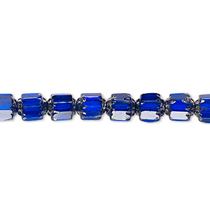 bead, czech glass, cobalt and metallic silver, 6mm round cathedral. sold per 16-inch strand, approximately 65 beads.