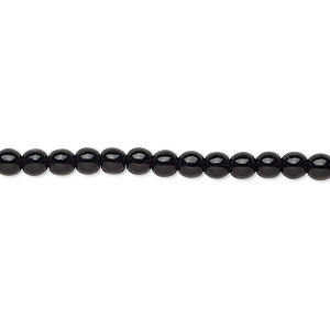 bead, czech glass druk, opaque black, 4mm round. sold per 16-inch strand.