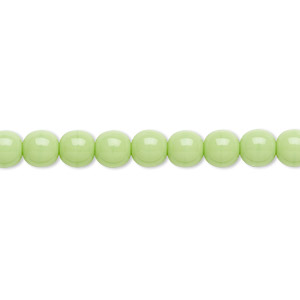 bead, czech glass druk, opaque green, 6mm round. sold per 16-inch strand, approximately 65 beads.