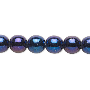 bead, czech glass druk, opaque iris blue, 10mm round. sold per 16-inch strand.