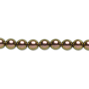bead, czech glass druk, opaque metallic copper, 6mm round. sold per 16-inch strand, approximately 65 beads.