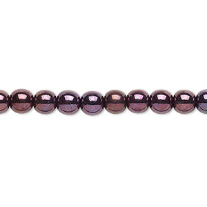 bead, czech glass druk, opaque purple luster, 6mm round. sold per 16-inch strand.