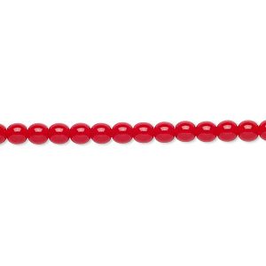 bead, czech glass druk, opaque red, 4mm round. sold per 16-inch strand.