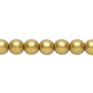 bead, czech glass druk, opaque satin bronze, 8mm round with 0.8-1.3mm hole. sold per 16-inch strand.