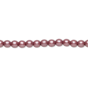 bead, czech glass druk, opaque satin mauve, 4mm round with 0.8-1mm hole. sold per 16-inch strand.