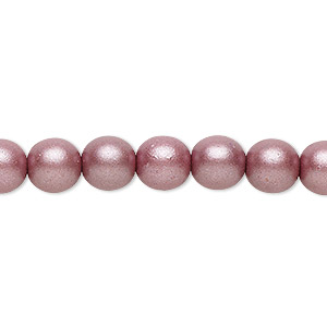 bead, czech glass druk, opaque satin mauve, 8mm round with 0.8-1.3mm hole. sold per 16-inch strand.
