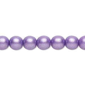 bead, czech glass druk, opaque satin purple, 8mm round with 0.8-1.3mm hole. sold per 16-inch strand.