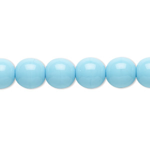 bead, czech glass druk, opaque turquoise blue, 10mm round. sold per 16-inch strand.