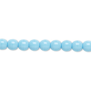 bead, czech glass druk, opaque turquoise blue, 6mm round. sold per 16-inch strand.