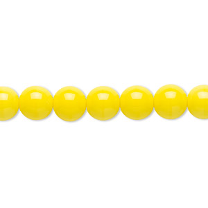 bead, czech glass druk, opaque yellow, 8mm round. sold per 16-inch strand.
