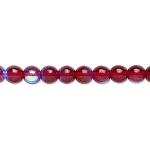 bead, czech glass druk, red ab, 6mm round. sold per 16-inch strand.