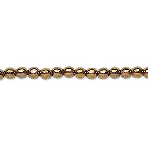 bead, czech glass druk, translucent copper luster, 4mm round. sold per 16-inch strand.