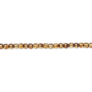 bead, czech glass druk, translucent tortoise luster, 3mm round. sold per 16-inch strand.