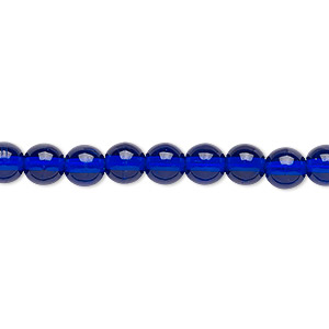 bead, czech glass druk, transparent cobalt, 6mm round. sold per 16-inch strand.