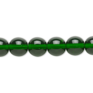 bead, czech glass druk, transparent emerald green, 10mm round. sold per 16-inch strand.