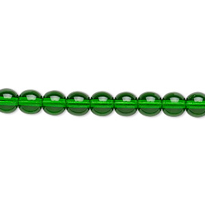 bead, czech glass druk, transparent emerald green, 6mm round. sold per 16-inch strand.