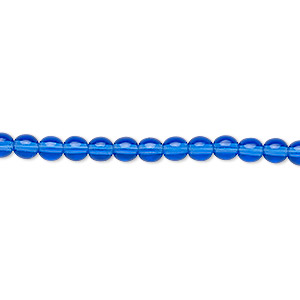 bead, czech glass druk, transparent light cobalt, 4mm round. sold per 16-inch strand.