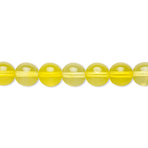 bead, czech glass druk, transparent yellow, 8mm round. sold per 16-inch strand.