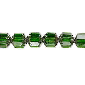 bead, czech glass, emerald green and metallic emerald green, 8mm round cathedral. sold per 16-inch strand.
