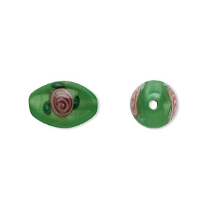 bead, czech glass, green with flowers, 12x8mm olive. sold per pkg of 4.
