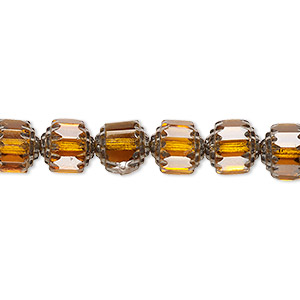 bead, czech glass, honey and metallic silver, 8mm round cathedral. sold per 16-inch strand, approximately 50 beads.