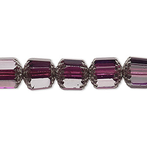 bead, czech glass, light purple and metallic light purple, 10mm round cathedral. sold per 16-inch strand.