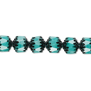 bead, czech glass, opaque turquoise blue and black, 8mm round cathedral. sold per 16-inch strand.