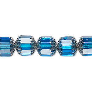 bead, czech glass, turquoise blue and metallic silver, 10mm round cathedral. sold per 16-inch strand, approximately 40 beads.