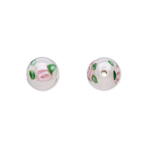 bead, czech glass, white with flowers, 8mm round. sold per pkg of 6.