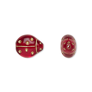 bead, czech gold-finished pressed glass, transparent red, 13x11mm ladybug. sold per 16-inch strand, approximately 30 beads.
