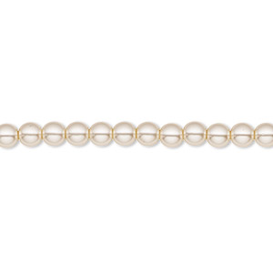 bead, czech pearl-coated glass druk, beige, 4mm round with 0.8-1mm hole. sold per 16-inch strand.