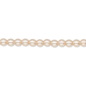 bead, czech pearl-coated glass druk, champagne, 4mm round with 0.8-1mm hole. sold per 16-inch strand.