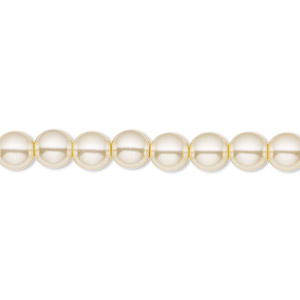 bead, czech pearl-coated glass druk, cream, 6mm round with 0.7-1.1mm hole. sold per 16-inch strand.