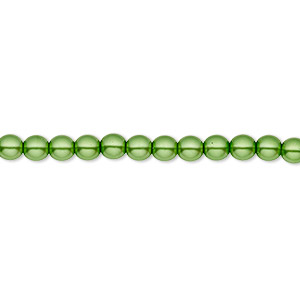 bead, czech pearl-coated glass druk, green, 4mm round with 0.8-1mm hole. sold per 16-inch strand.