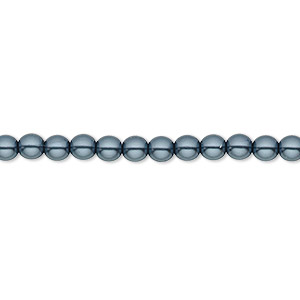bead, czech pearl-coated glass druk, gunmetal blue, 4mm round with 0.8-1mm hole. sold per 16-inch strand.