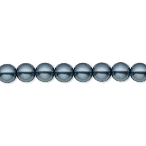 bead, czech pearl-coated glass druk, gunmetal blue, 6mm round with 0.7-1.1mm hole. sold per 16-inch strand.