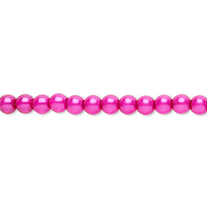 bead, czech pearl-coated glass druk, hot pink, 4mm round. sold per 16-inch strand.