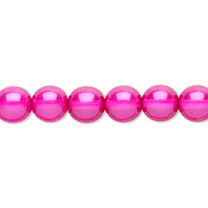 bead, czech pearl-coated glass druk, hot pink, 8mm round. sold per 16-inch strand.