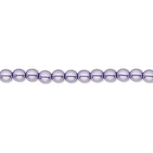 bead, czech pearl-coated glass druk, lavender, 4mm round with 0.8-1mm hole. sold per 16-inch strand.