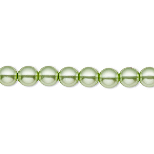 bead, czech pearl-coated glass druk, light green, 6mm round with 0.7-1.1mm hole. sold per 16-inch strand.