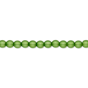bead, czech pearl-coated glass druk, matte green, 4mm round with 0.8-1mm hole. sold per 16-inch strand.