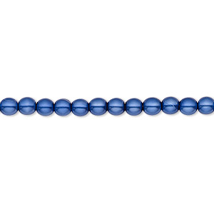 bead, czech pearl-coated glass druk, royal blue, 4mm round with 0.8-1mm hole. sold per 16-inch strand.